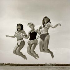 Bettie-Page-Carol-Jean-and-Third-Girl-Model-Jumping