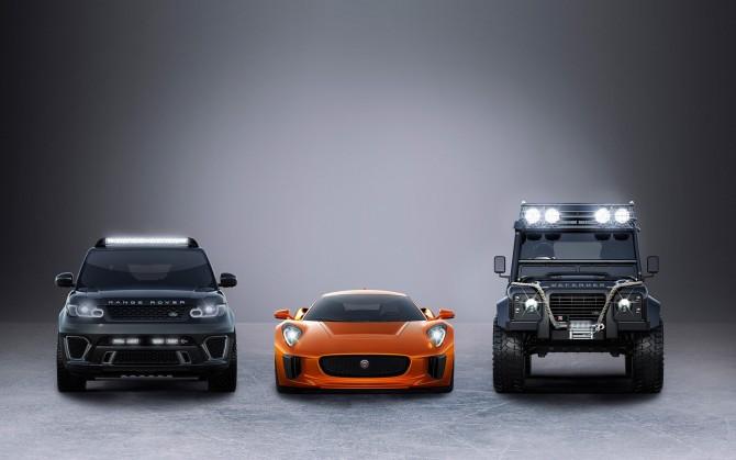 От ляво надясно: Range Rover Sport SVR, Jaguar C-X75 и Land Rover Defender Big Foot