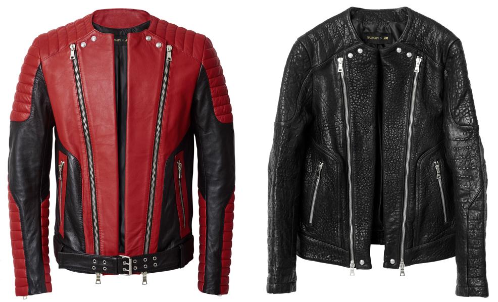 Ляво: Червено-черно кожено яке, 449 лв. Дясно: Черно кожено яке, 449 лв.