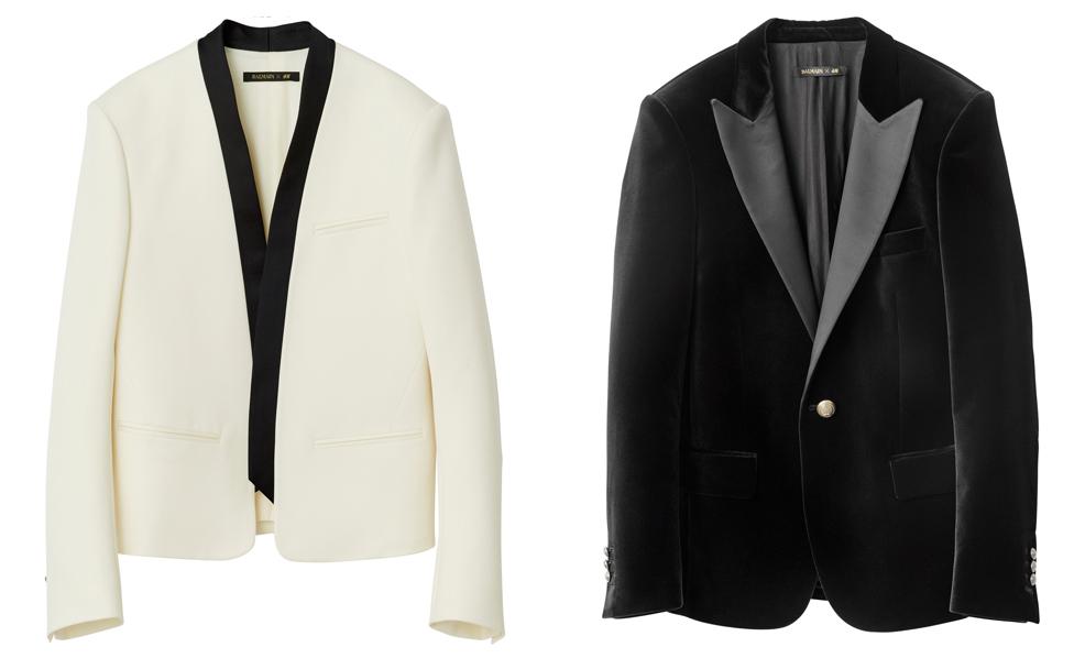 Ляво: Късо, бяло вълнено сако с шал яка, 139 лв. Дясно: Кадифено смокинг яко с остри сатенирани ревери, 269 лв.