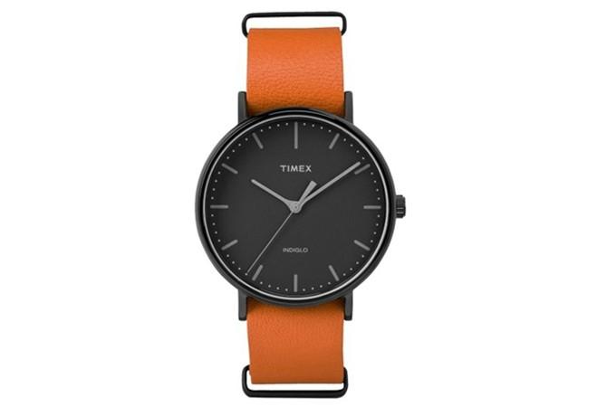 Timex Weekender Fairfield с оранжева кожена каишка, $60