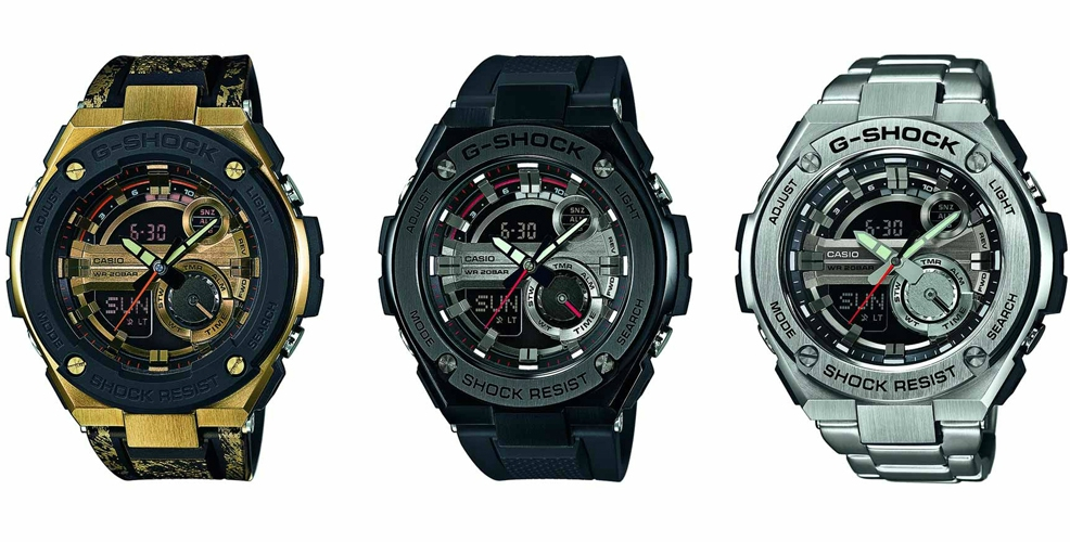 Ляво: G-SHOCK GST-200CP-9AER, 578 лева / Център:  G-SHOCK GST-210B-1AER, 578 лева / Дясно: G-SHOCK GST-210D-1AER, 663 лева