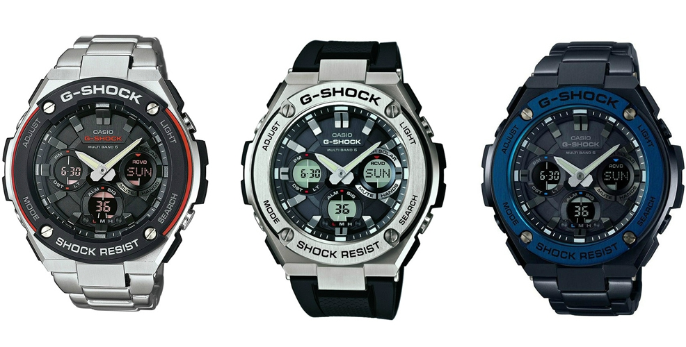 Ляво: G-SHOCK GST-W100D-1A4ER, 595 лева / Център: G-SHOCK GST-W110-1AER, 545 лева / Дясно: G-SHOCK GST-W110BD-1A2ER, 875 лева