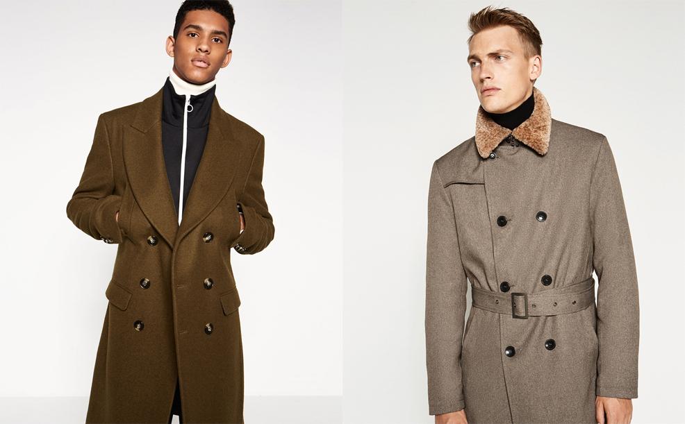 Ляво: Палто в двуредно закопчаване и огромна яка, 299 лева / Дясно: Тренчкот с яка от косъм, 179 лева