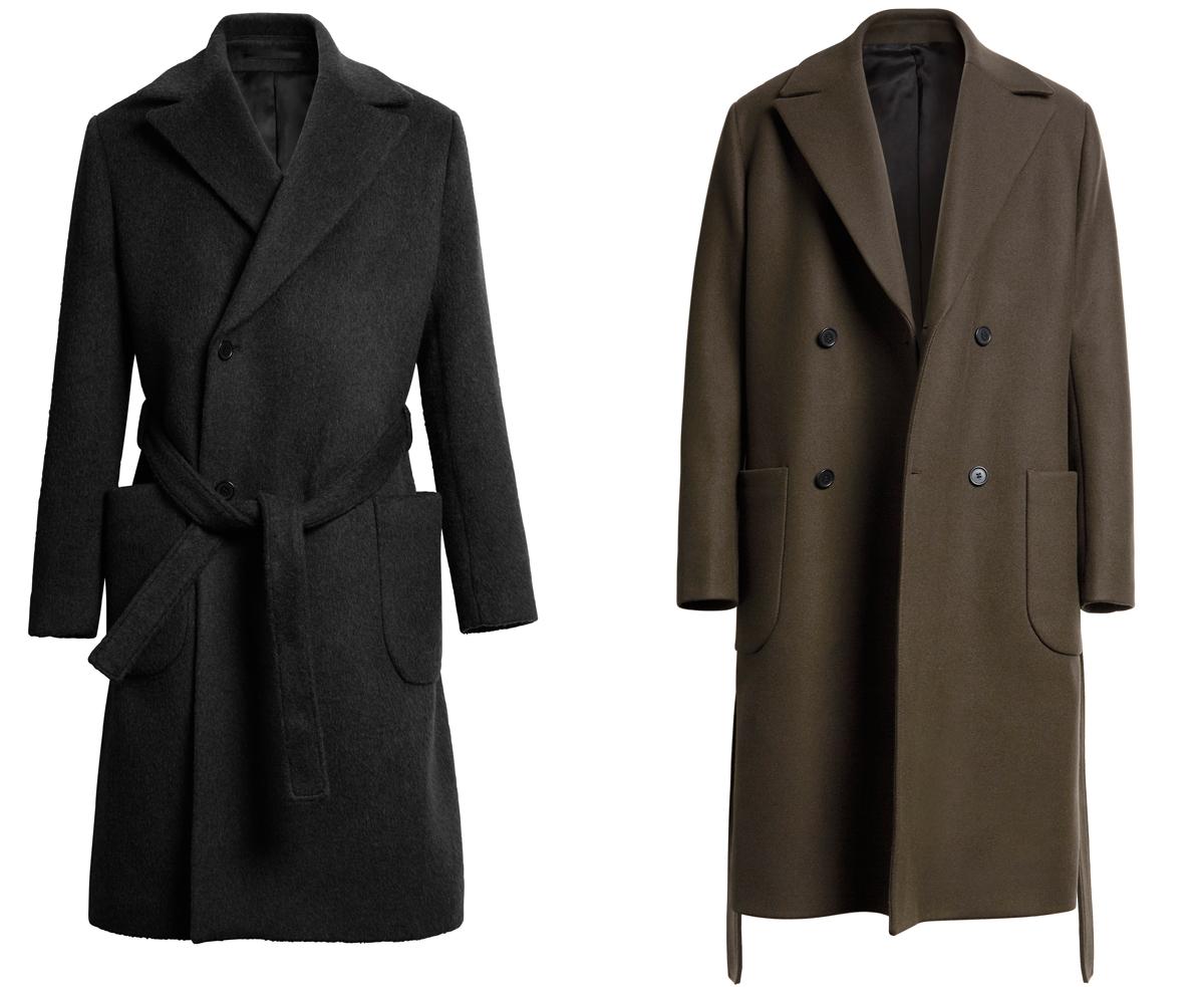 Класически мъжки палта с прихлупване, големи яки, колани и големи външни джобове без капаци, 349 лева всяко