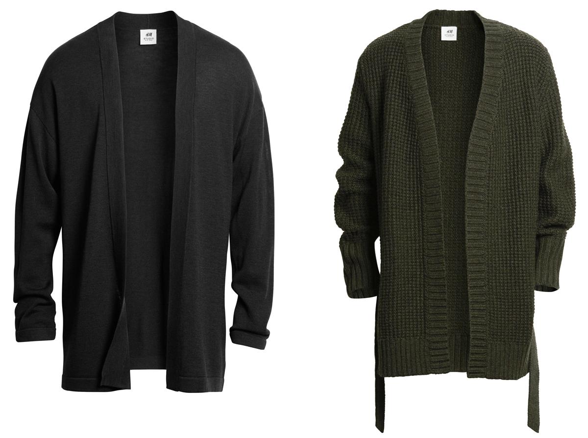 Ляво: тънка кимоно жилетка без копчета и колан, 109 лева / Дясно: Дебела вълнена жилетка с колан, 139 лева