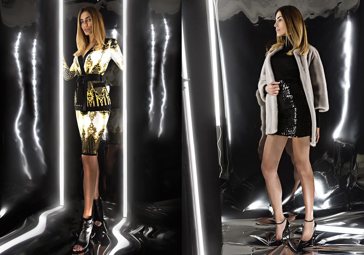 Ляво: графитена копринена риза с ламе Ann Demeulemeester (960 лева), черен седем осми панталон с висока талия и басти Stella McCartney (1110 лева) и обувки от еко лак Stella McCartney (1750 лева) / Дясно: Бледо сиво палто от визон Yves Salomon (11260 лева), черно рипсено копринено поло Tom Ford (2010 лева), черна мини пола с висока талия от кадифе с лак щампа Saint Laurent (2950 лева) и черни кожени обувки с висок ток Tom Ford (2395 лева) © Yo Vo за ALL U Re